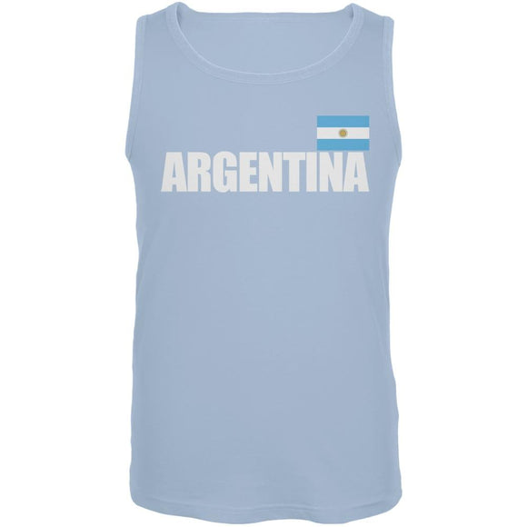 World Cup Argentina Flag & Letters Light Blue Soccer Tank Top