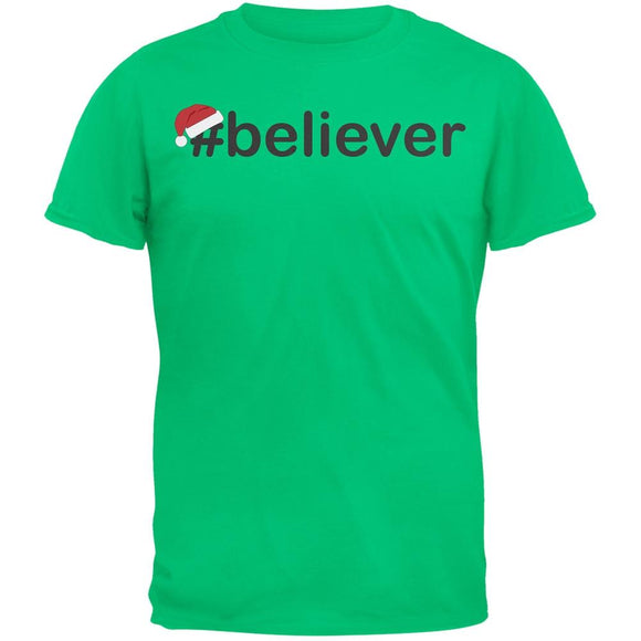 #Believer Santa Mens Green T-Shirt