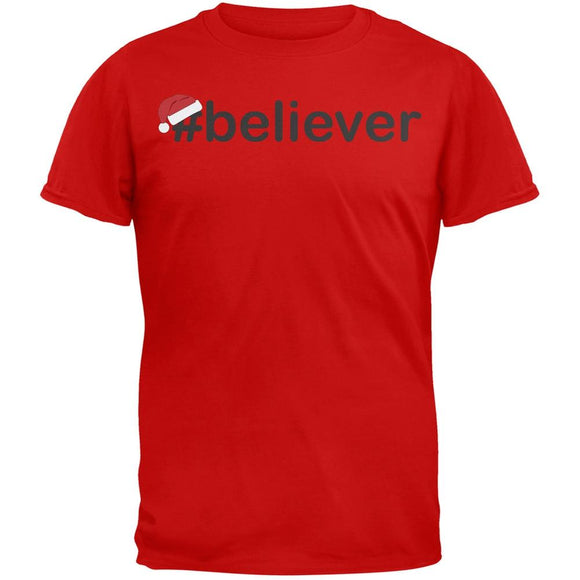 #Believer Santa Mens Red T-Shirt