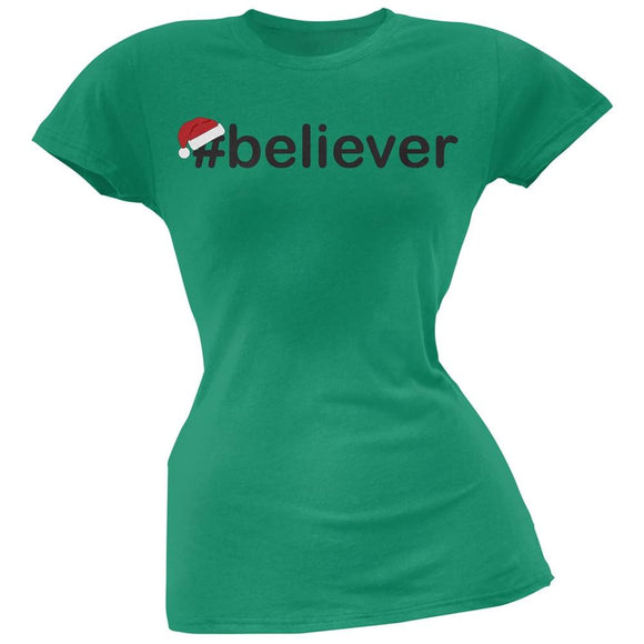 #Believer Santa Juniors Green T-Shirt
