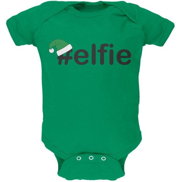 #Elfie Christmas Hashtag Green Soft Baby One Piece
