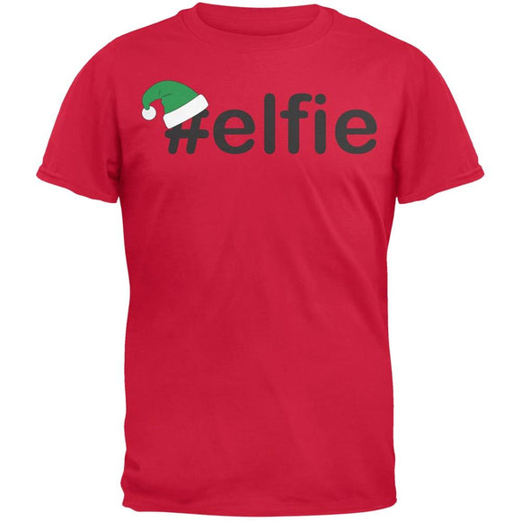 #Elfie Christmas Hashtag Red Adult T-Shirt