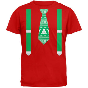 Ugly Christmas Sweater Tie With Suspenders Red Adult T-Shirt