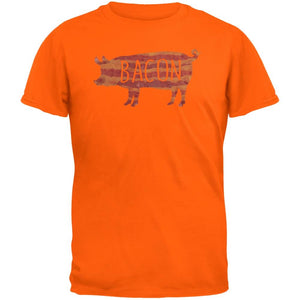 Bacon Pig Silhouette Orange Adult T-Shirt