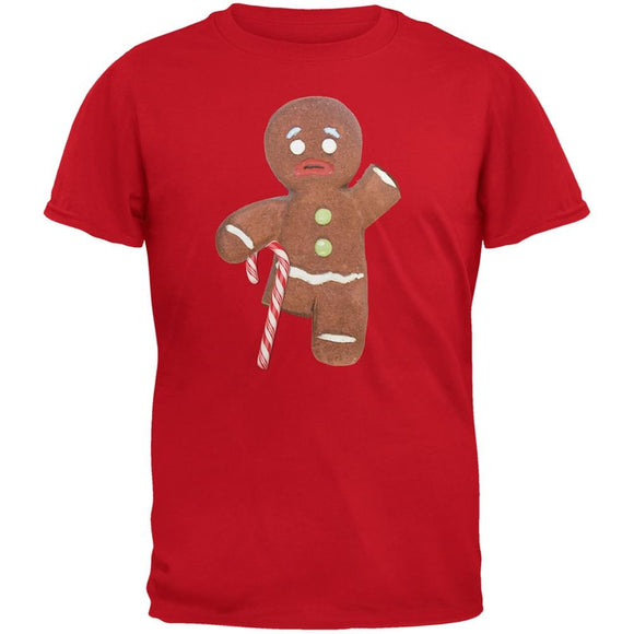 Ginger Bread Man With Candy Cane Crutch Red Adult T-Shirt