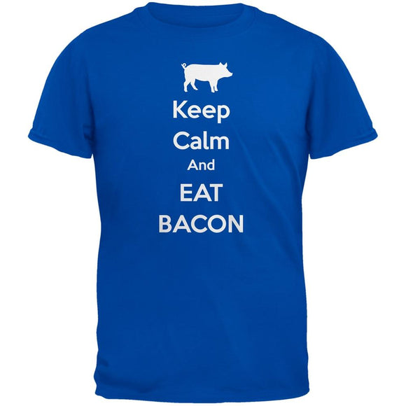 Keep Calm And Eat Bacon Blue Adult T-Shirt