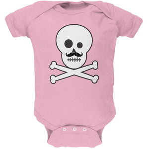 Skull and Crossbones Mustache Pink Baby One Piece