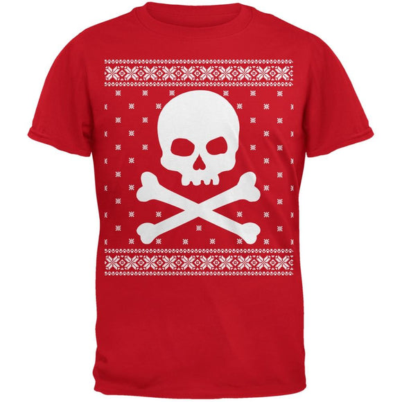 Giant Skull And Crossbones Ugly Christmas Sweater Red Adult T-Shirt
