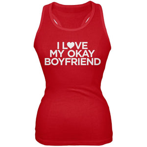 I Love My Okay Boyfriend Red Juniors Tank Top