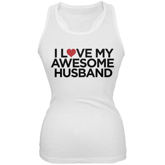 Valentine's Day - I Love My Awesome Husband White Juniors Soft Tank Top