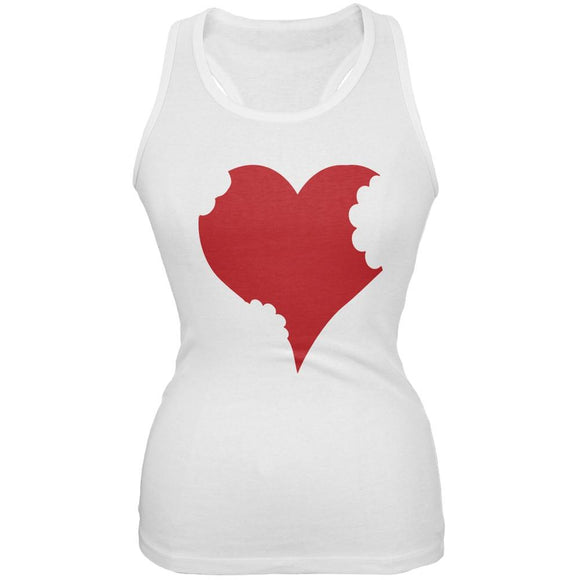 Bitten Heart White Juniors Soft Tank Top