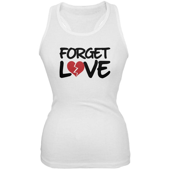 Forget Love White Juniors Soft Tank Top