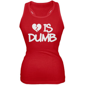 Love is Dumb Red Juniors Soft Tank Top