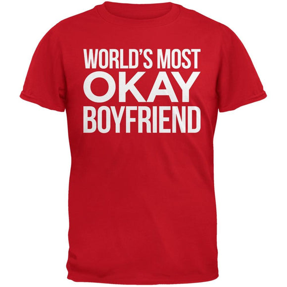 World's Most Okay Boyfriend Red Adult T-Shirt