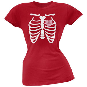 Skeleton Be Mine Candy Heart Red Soft Juniors T-Shirt