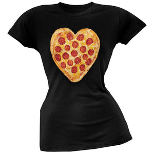Pepperoni Pizza Heart Black Soft Juniors T-Shirt
