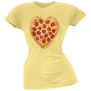 Pepperoni Pizza Heart Yellow Soft Juniors T-Shirt