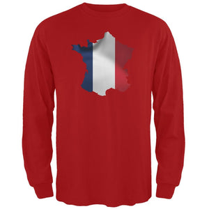 France Flag Red Adult Long Sleeve T-Shirt