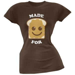 Couples Peanut Butter Sandwich Brown Soft Juniors T-Shirt