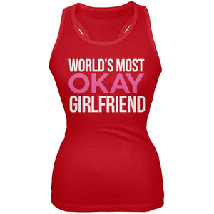 World's Most Okay Girlfriend Red Soft Juniors Tank Top