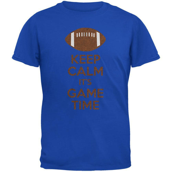 Keep Calm Game Time Football Royal Adult T-Shirt