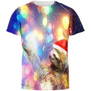 Mystical Christmas Sloth All Over Adult T-Shirt