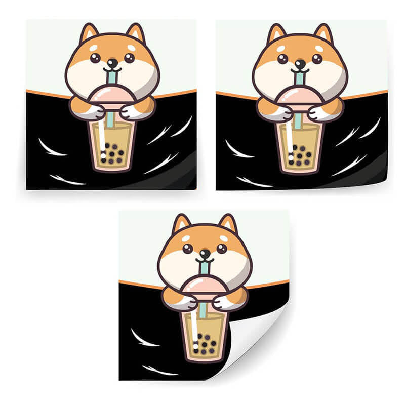 "Shiba Enjoying Boba 2x2"" Stickers"