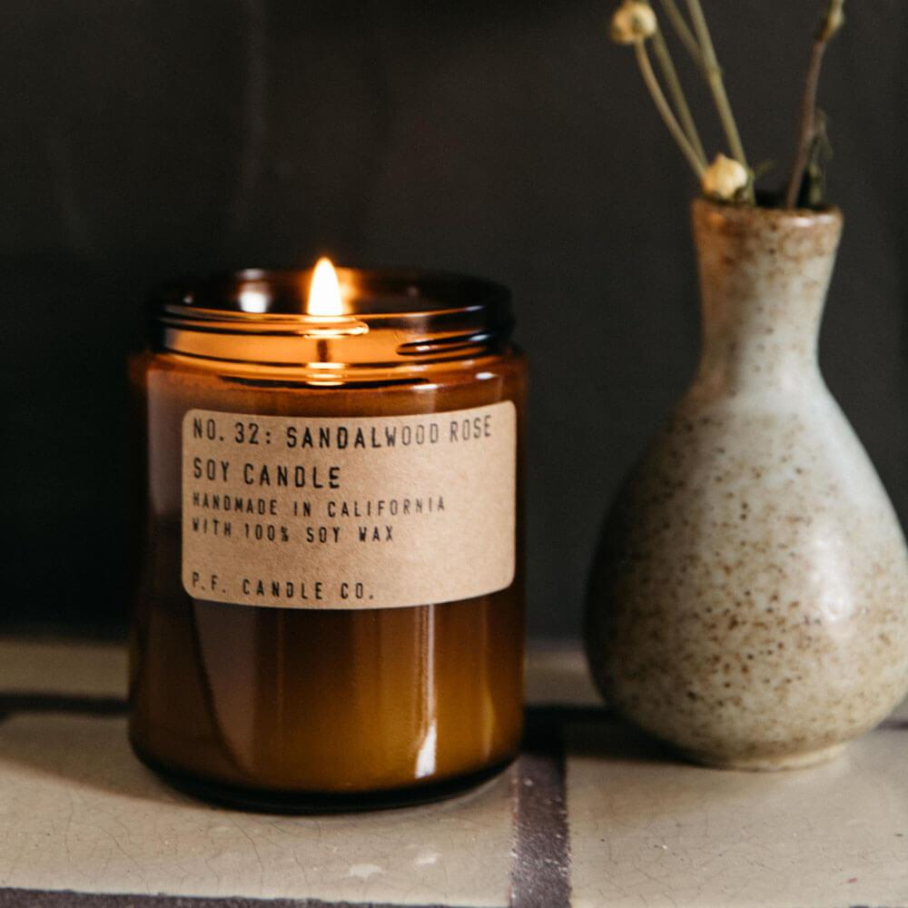 P.F. Candle Co. Sandalwood Rose Standard Jar Candle Image 1
