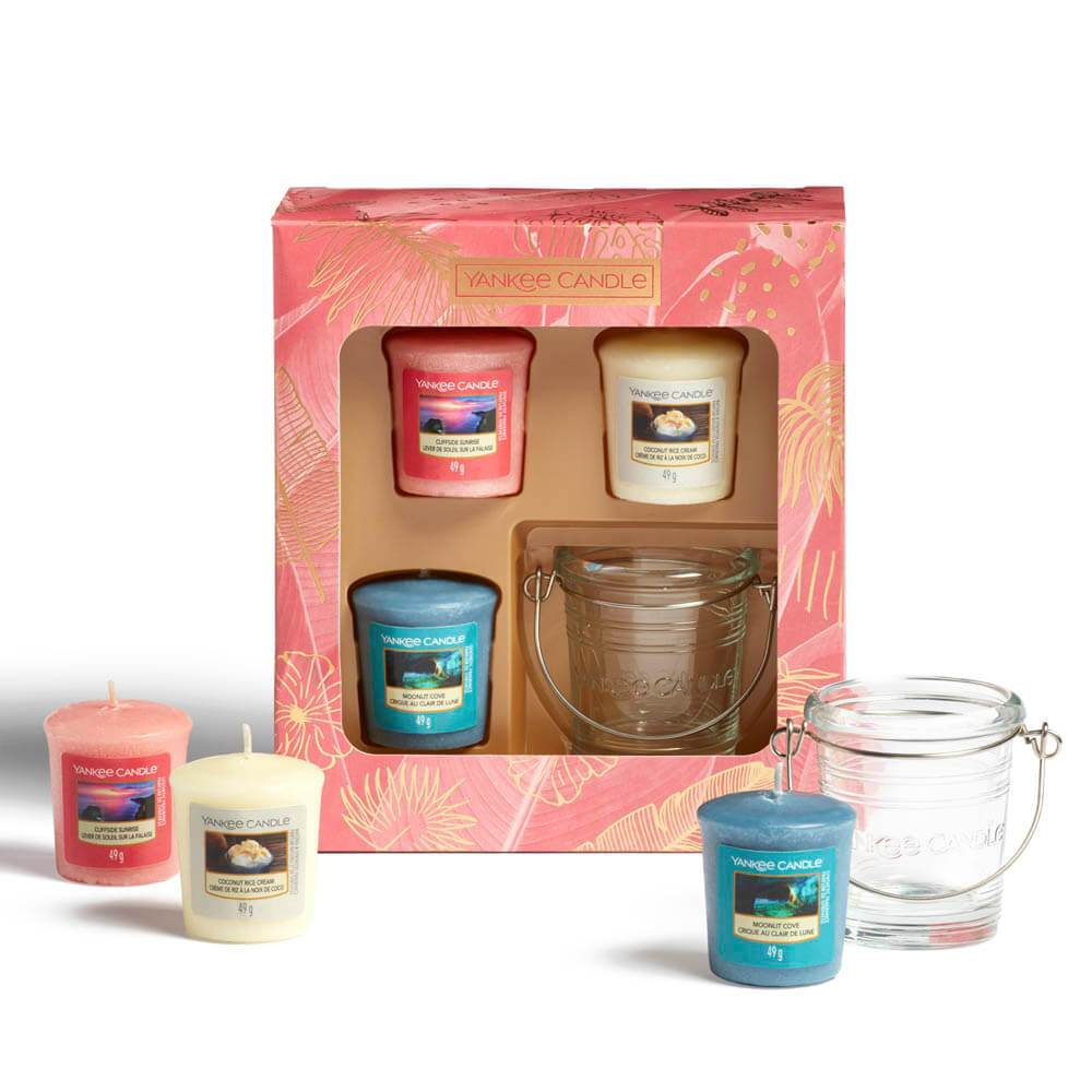 Yankee Candle The Last Paradise 3 Votive Candle And Holder Gift Set Image 1