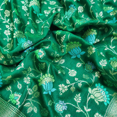 Bottle Green Pure Moonga Silk Banarasi Handloom Multi Meenakari Jaal Dupatta