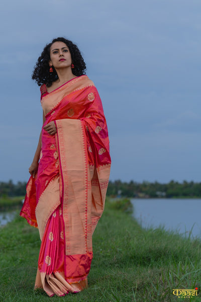 UDAAN CHOO Orange-Pink Pure Katan Silk Banarasi Handloom Kadhua Saree
