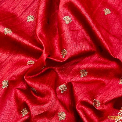 Red Pure Tussar Silk Banarasi Handloom Saree