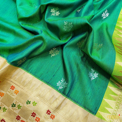 Parrot Green- Peacock Blue Premium Tussar Silk Banarasi Handloom Saree Alfie Boota with beige border