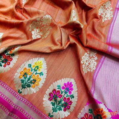 Orange Premium Tussar Silk Banarasi Handloom Saree Kadua meenakari border