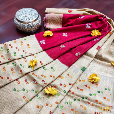 Maroon Premium Tussar Silk Banarasi Handloom Saree Kadiyal with beige color border
