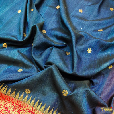 Navy Blue Premium Tussar Silk Banarasi Handloom Saree Kadiyal with red color border