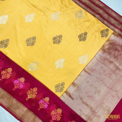 Mustard Pure Katan Silk Banarasi Handloom Kadiyal Saree with kora/organza fabric in border