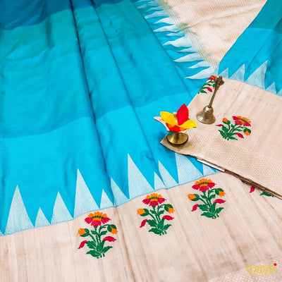 Sky Blue Pure Katan Silk  Banarasi Handloom Kadiyal Saree with tussar fabric in the border