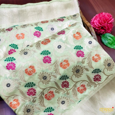 Mint Green Pure Katan Silk Handloom Saree