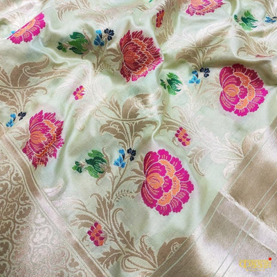 Mint Green Pure Katan Silk Handloom Saree Tehra Floral Jaal