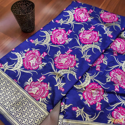 Navy Blue Pure Katan Silk Banarasi Handloom Saree Rose Jaal