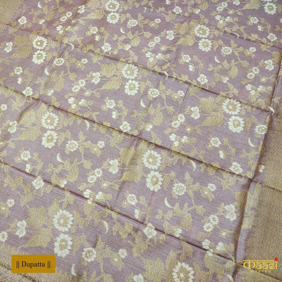 Biscuit Brown Pure Tussar Silk Handloom Banarasi Salwar Suit