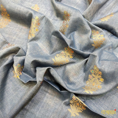 Grey Pure Linen Silk Handloom Banarasi Salwar Suit with Pink Dupatta