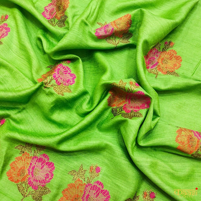 Pista Green Pure Moonga Silk Handloom Banarasi Salwar Suit with Contrast White Dupatta