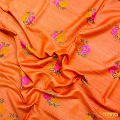 Orange-Pink Pure Moonga Silk Handloom Banarasi Salwar Suit with Contrast White Dupatta