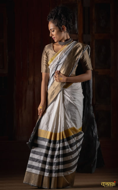 DHAREE White Pure Katan Silk Banarasi Handloom Saree