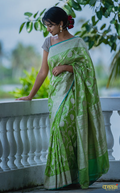 MONSOON LOVE Lime Green Pure Katan Silk Handloom Banarasi kadhua Jangla saree