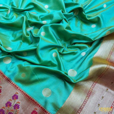 Mustard-Sea Green Pure Katan Silk Paithani Handloom Banarasi Saree