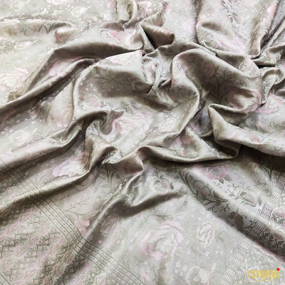 Grey Tanchoi Satin Silk Handloom Banarasi Saree