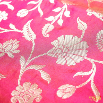 Orange-Pink Cross Shade Pure Katan Silk Uppada Handloom Banarasi Saree